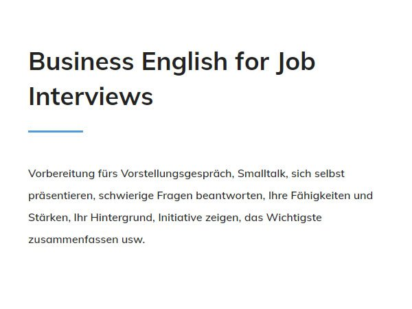 Business English Job Interviews für 74072 Heilbronn