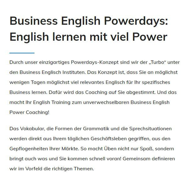 Business English Powerdays für  Ulm