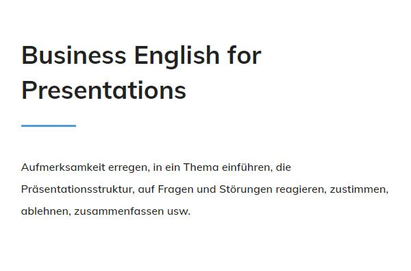 Business English Presentations für  Ulm