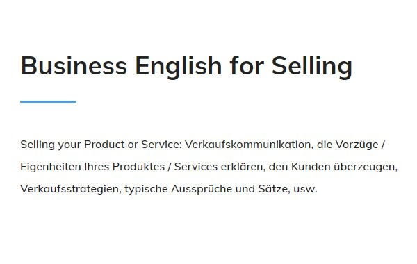 Business English Selling